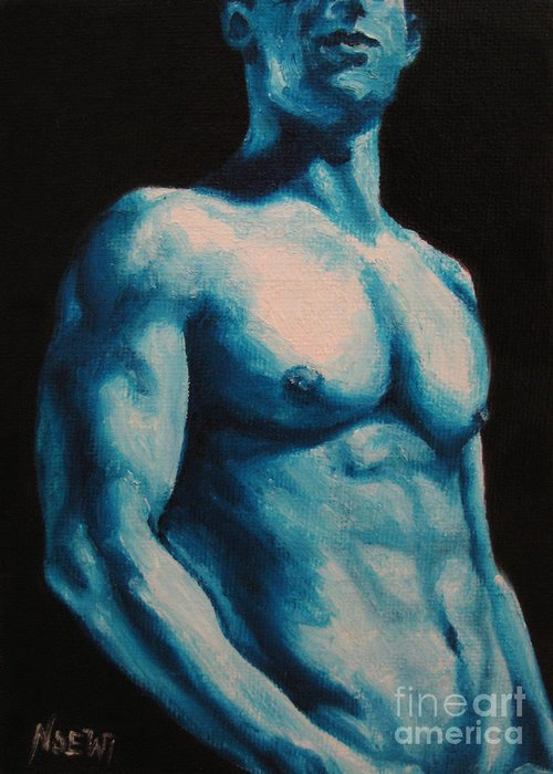 Nude Greeting Card featuring the painting Blue by Jindra Noewi