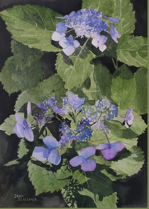 Flowers Greeting Card featuring the painting Blue Lace by Jean Blackmer