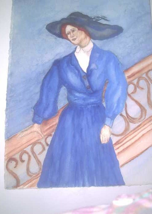 Image Caught My Imagination Greeting Card featuring the painting Blue Lady by Nancy Caccioppo