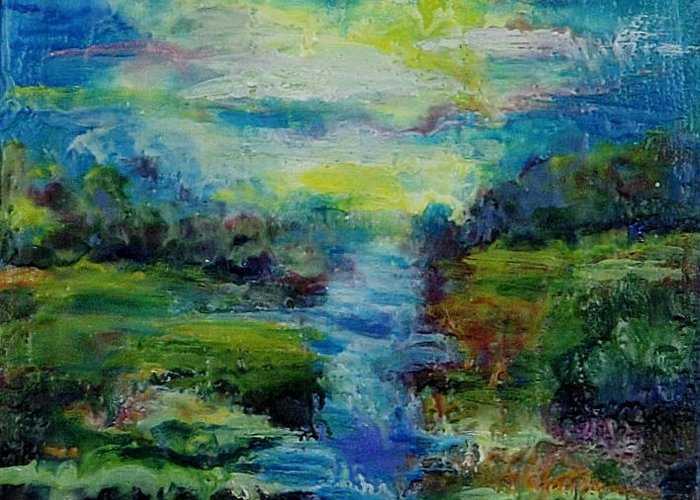 Water Greeting Card featuring the painting Blue Landscape. by Evgenia Davidov