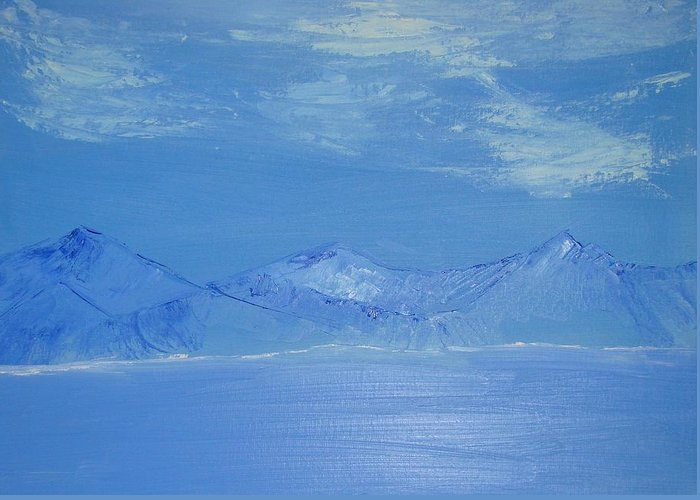 Mountains Greeting Card featuring the painting Blue Landscape by Liz Vernand