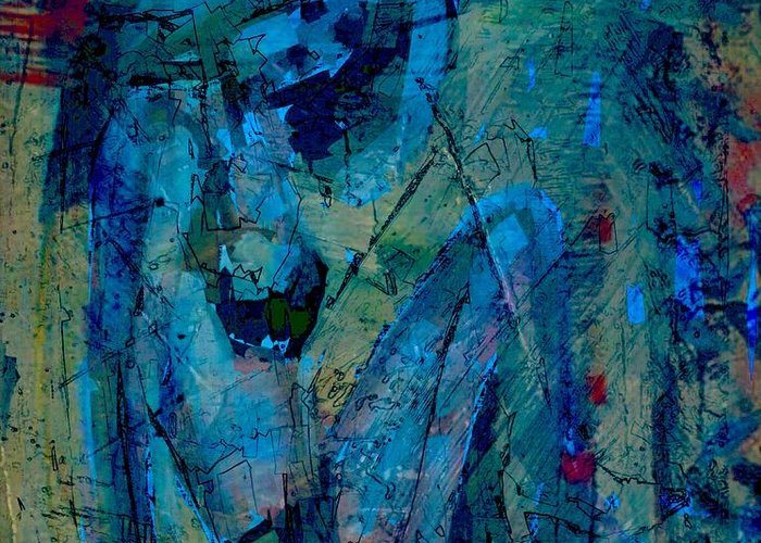 Abstract Greeting Card featuring the digital art Blue Light by Jim Vance
