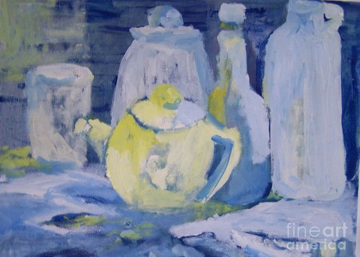 Still Life Greeting Card featuring the painting Blue Lights by Geraldine Liquidano