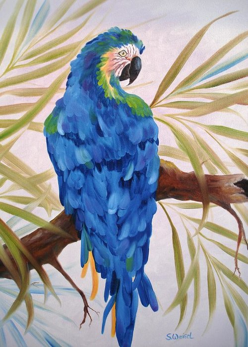 Wild Animal Exotic Bird Blue Macaw Tropical Greeting Card featuring the painting Blue Macaw by Sherry Winkler