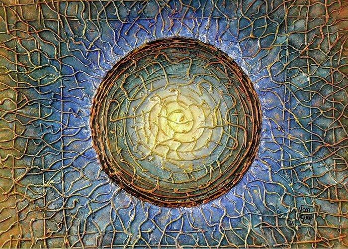 Blue Greeting Card featuring the painting Blue Mandala by Agnieszka Adamska