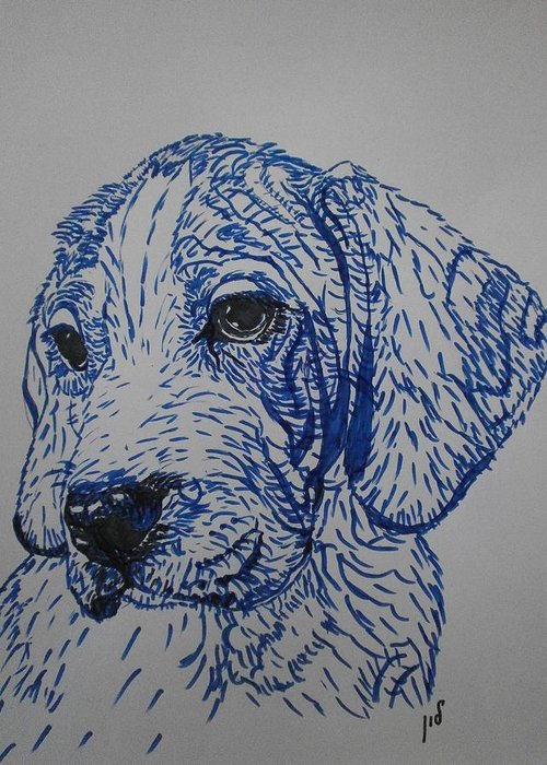 Drawing On Paper Greeting Card featuring the drawing Blue by Maria Woithofer
