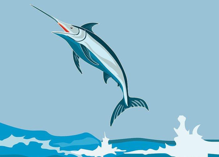 Fish Greeting Card featuring the digital art Blue Marlin by Aloysius Patrimonio