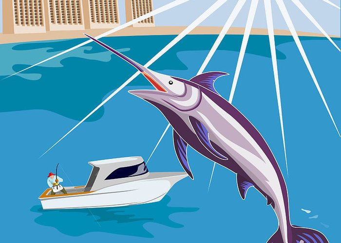 Digital Greeting Card featuring the digital art Blue Marlin Jumping by Aloysius Patrimonio