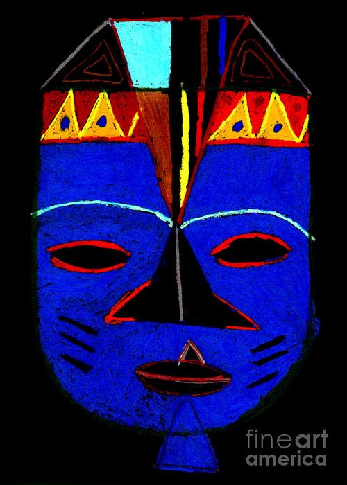 African Masks Greeting Card featuring the pastel Blue Mask by Angela L Walker
