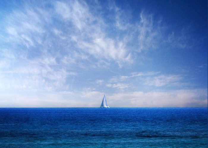 Background Greeting Card featuring the photograph Blue Mediterranean by Stelios Kleanthous