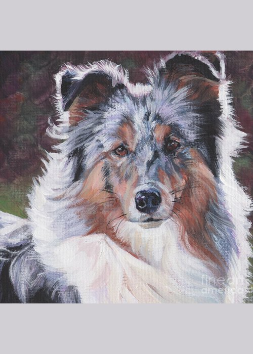 Blue Merle Sheltie Greeting Card featuring the painting Blue Merle Sheltie by Lee Ann Shepard
