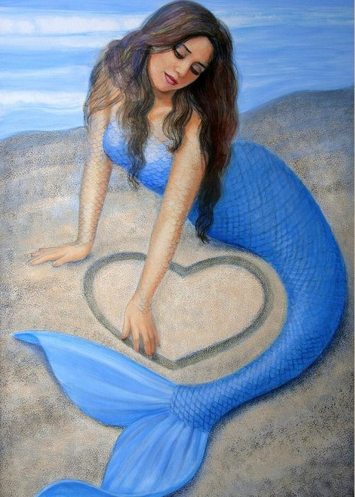 Mermaid Greeting Card featuring the painting Blue Mermaid's Heart by Sue Halstenberg