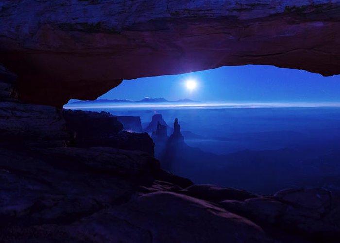 Mesa Arch Greeting Card featuring the photograph Blue Mesa Arch by Chad Dutson
