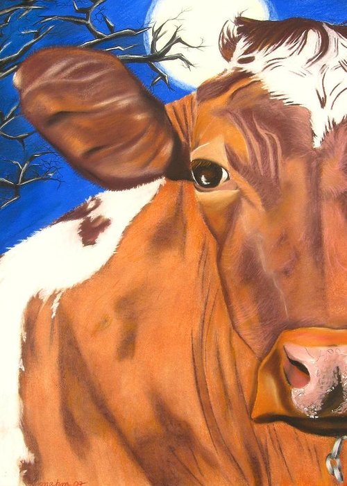 Cow Painting Greeting Card featuring the pastel Blue Moo by Michelle Hayden-Marsan