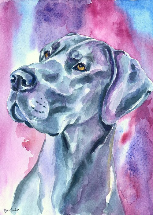Great Dane Greeting Card featuring the painting Blue Mood - Great Dane by Lyn Cook