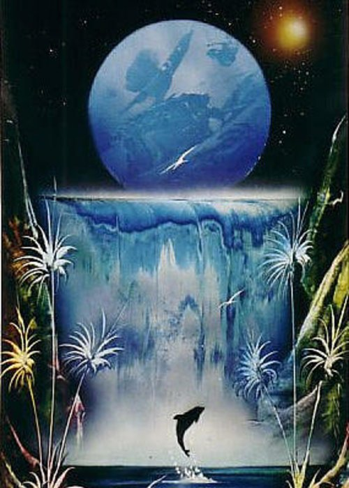 Blue Moon Greeting Card featuring the painting Blue Moon by Angel Ortiz