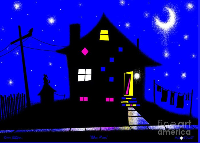 Fantasy Greeting Card featuring the digital art Blue Moon by Cristophers Dream Artistry
