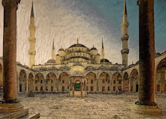 Blue Mosque Greeting Card featuring the photograph Blue Mosque At Sunrise by Syed Muhammad Munir ul Haq