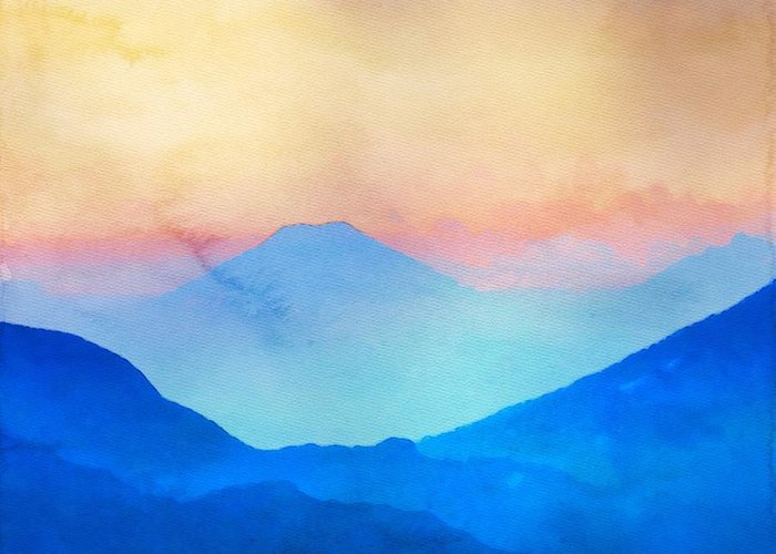 Blue mountains watercolour greeting card for sale by mark taylor blue mountains greeting card featuring the painting blue mountains watercolour by mark taylor m4hsunfo