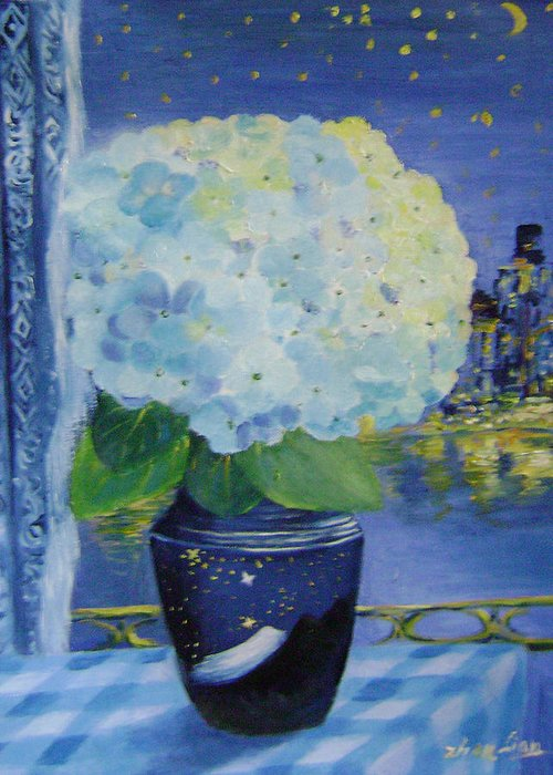 Flroal Greeting Card featuring the painting Blue Night by Lian Zhen