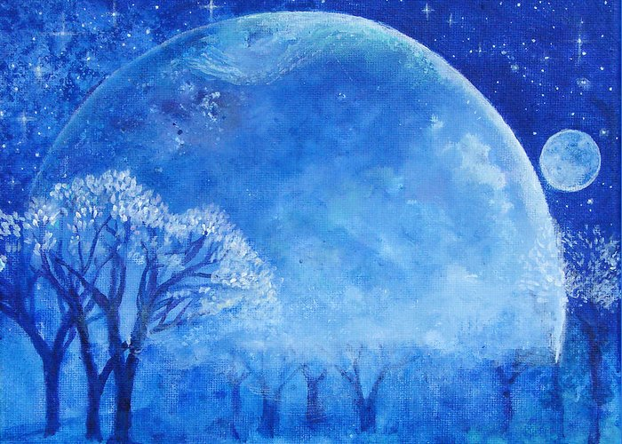 Blue Greeting Card featuring the painting Blue Night Moon by Ashleigh Dyan Bayer