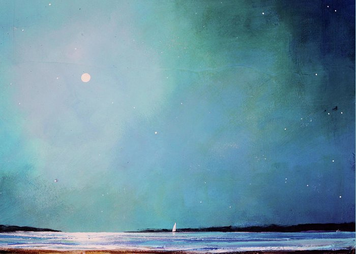 Seascape Greeting Card featuring the painting Blue Night Sky by Toni Grote
