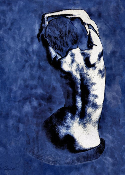 Blue Greeting Card featuring the photograph Blue Nude After Picasso by Joe Bonita
