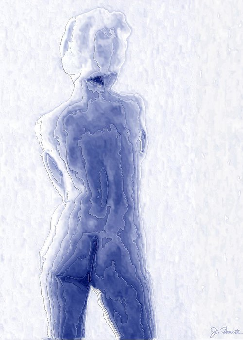 Blue Greeting Card featuring the photograph Blue Nude by Joe Bonita