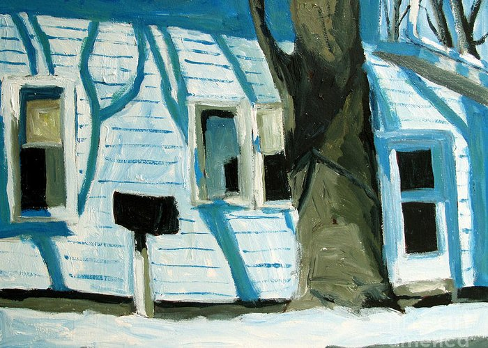 Landscape Greeting Card featuring the painting Blue On Blue by Charlie Spear