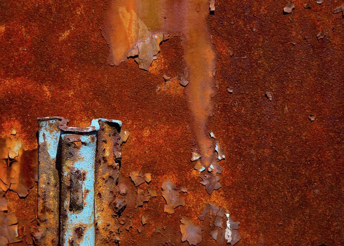 Major Rust Greeting Card featuring the photograph Blue On Rust by Karol Livote