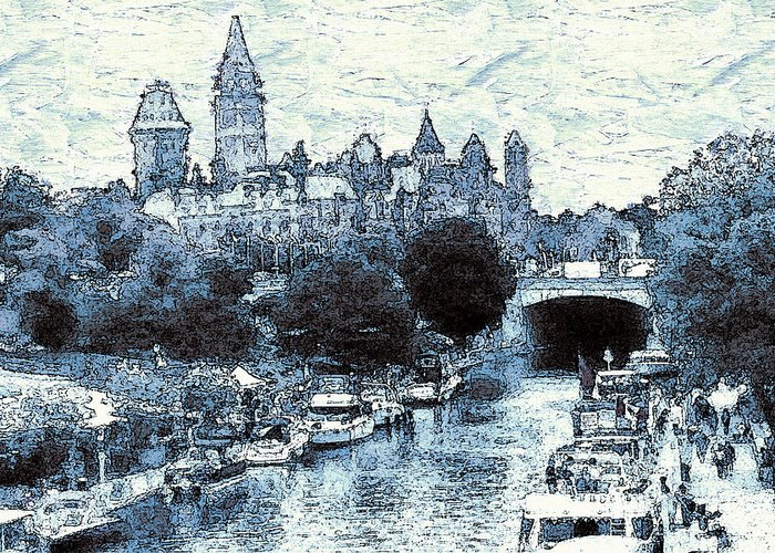 Ottawa Greeting Card featuring the drawing Blue Ottawa Skyline - Water Color by Peter Potter