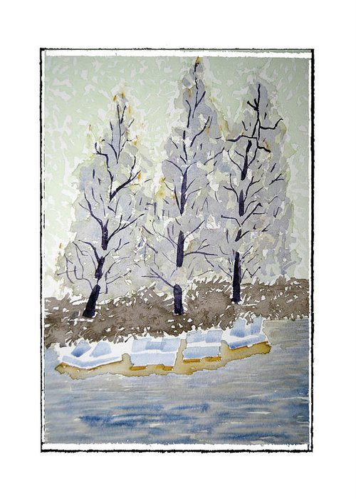 Landscape Greeting Card featuring the painting Blue Paddle Boats by Robert Boyette