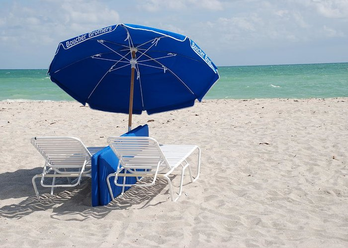 Sea Scape Greeting Card featuring the photograph Blue Paradise Umbrella by Rob Hans