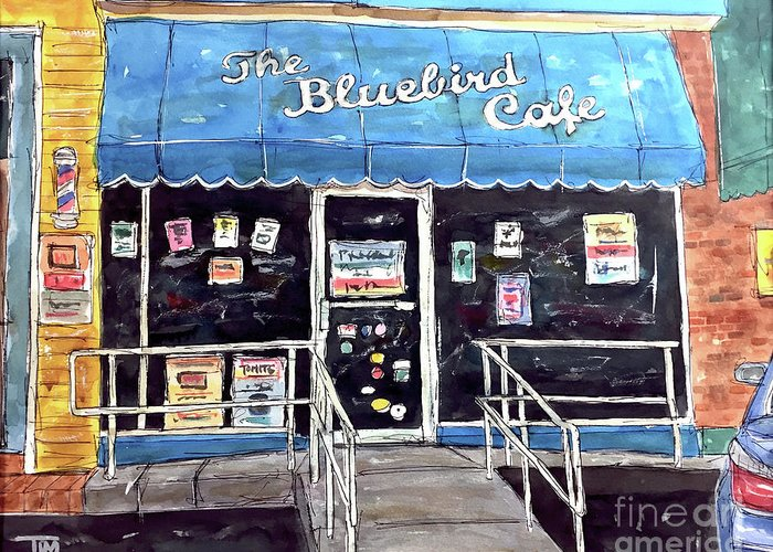Bluebird Greeting Card featuring the painting Blue Plate Special by Tim Ross
