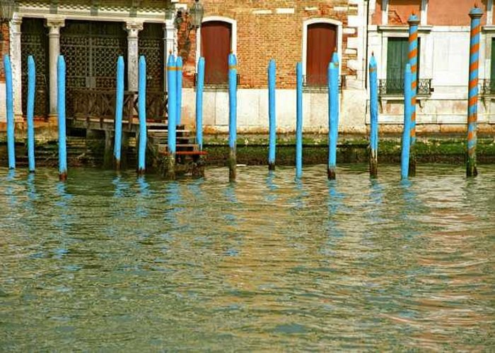 Venice Greeting Card featuring the photograph Blue Poles in Venice by Michael Henderson