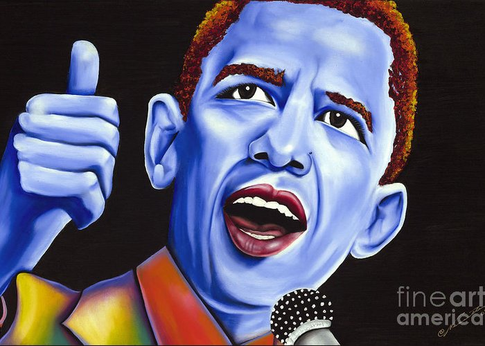 Barack Obama Greeting Card featuring the painting Blue Pop President Barack Obama by Nannette Harris