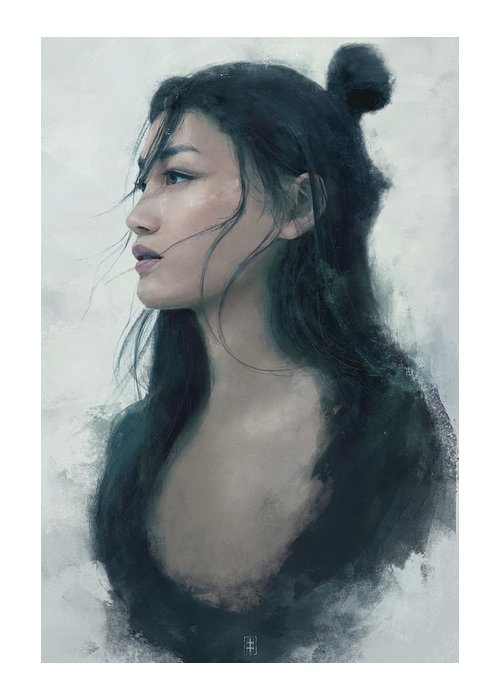 Warrioress Greeting Card featuring the painting Blue Portrait by Eve Ventrue