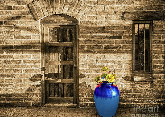 Blue Greeting Card featuring the photograph Blue Pot, Tubac, Arizona by Don Schimmel