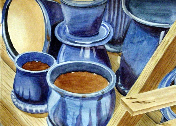 Pots Greeting Card featuring the painting Blue Pots by Marsha Elliott