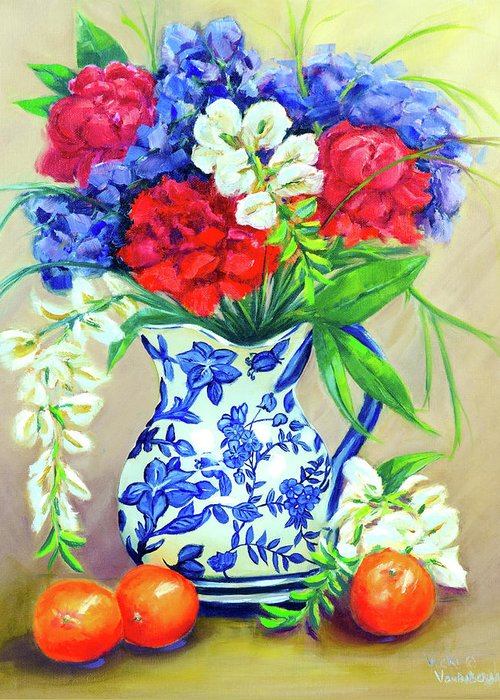 Blue Vase Greeting Card featuring the painting Blue Reflections by Vicki VanDeBerghe