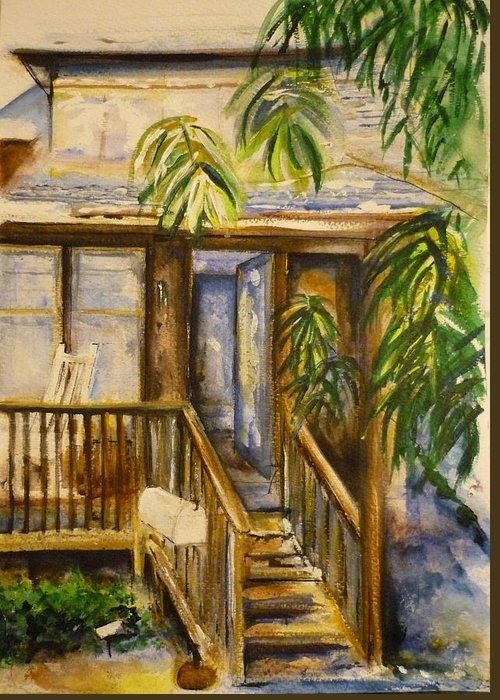Blue Ridge Mountains Greeting Card featuring the painting Blue Ridge Cabins Blue Ridge Mountains by Lizzy Forrester
