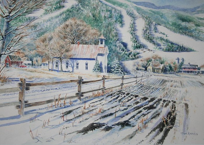Landscape Greeting Card featuring the painting Blue Ridge Church by Tom Harris