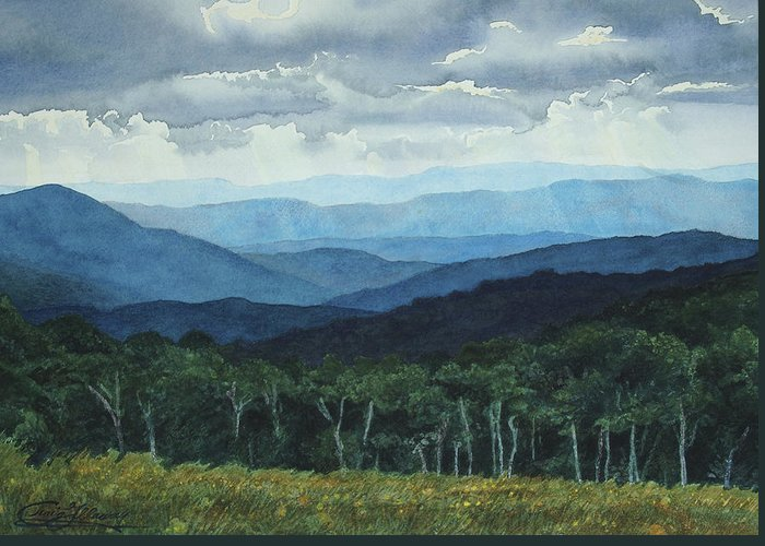 Blue Ridge Mountains Greeting Card featuring the painting Blue Ridge From Grassy Bald Study by Craig Gallaway