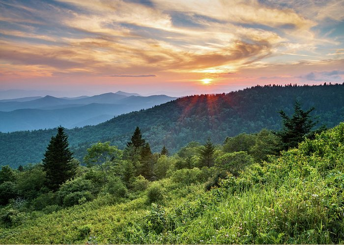 Blue Ridge Parkway Nc Sunset North Carolina Mountains Landscape Greeting Card For Sale By Dave Allen