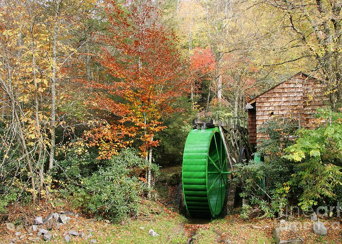 Tennessee Greeting Card featuring the photograph Blue Ridge Waterwheel by Stan and Anne Foster