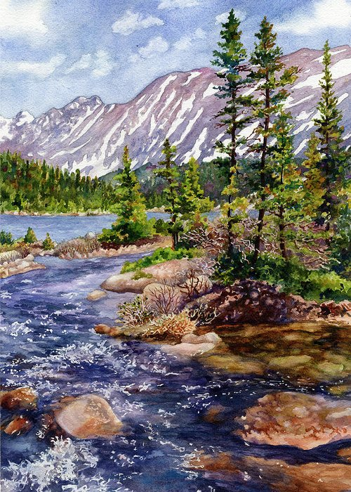 Blue River Painting Greeting Card featuring the painting Blue River by Anne Gifford