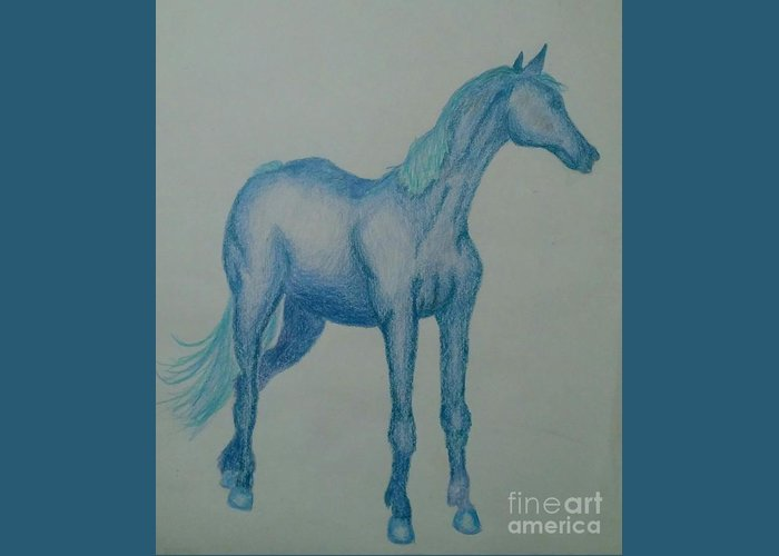 Blue Greeting Card featuring the drawing Blue River by Heather James