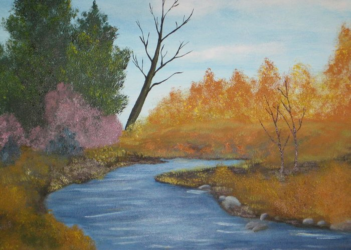 Autum Landscape Greeting Card featuring the painting Blue River by Terri Warner