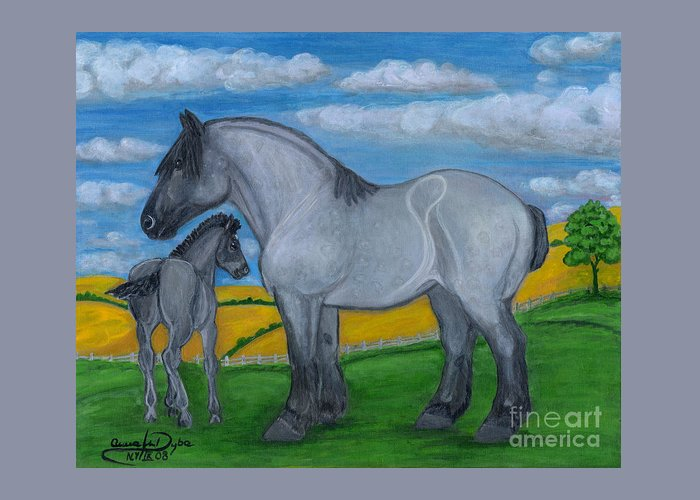 Folkartanna Greeting Card featuring the painting Blue Roan Mare With Her Colt by Anna Folkartanna Maciejewska-Dyba