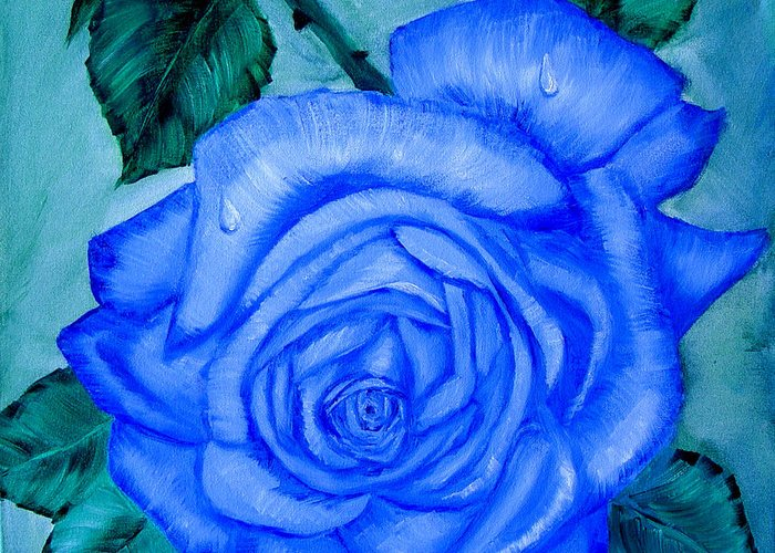 Rose Greeting Card featuring the painting Blue Rose by Quwatha Valentine